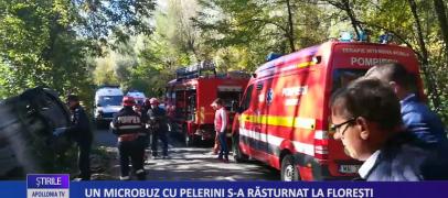 Un microbuz cu pelerini s-a răsturnat la Florești