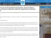 Decretul prin care România intră în stare de urgență
