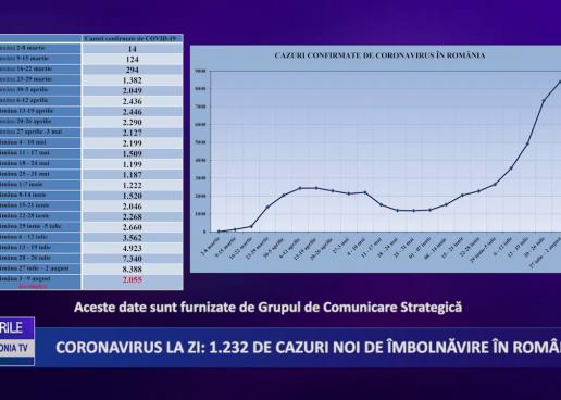 Coronavirus 4 august: 1.232 de cazuri noi de îmbolnăvire în România